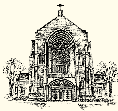 Sketch of church building